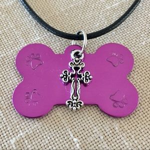 Paw Stamped Dog Bone Necklace With Cross Charm